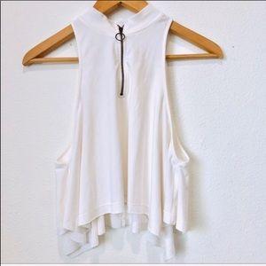Free people white sleeveless flowy top XS